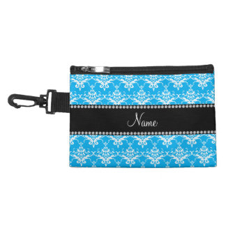Personalized name sky blue white damask accessory bag