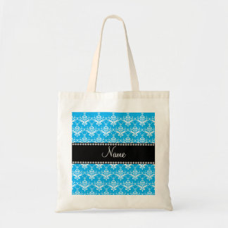 Personalized name sky blue white damask canvas bag