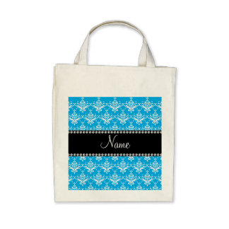 Personalized name sky blue white damask bag