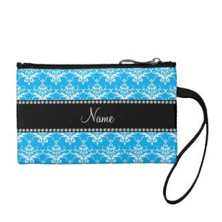 Personalized name sky blue white damask change purses