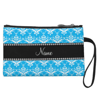 Personalized name sky blue white damask wristlet clutches