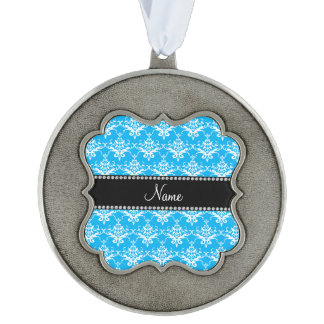 Personalized name sky blue white damask scalloped pewter ornament