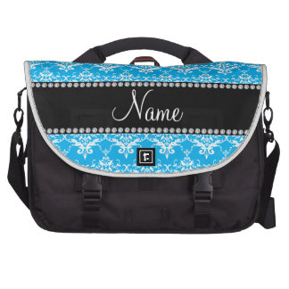 Personalized name sky blue white damask laptop computer bag