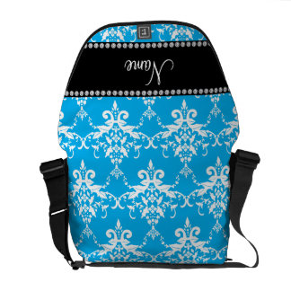 Personalized name sky blue white damask messenger bags