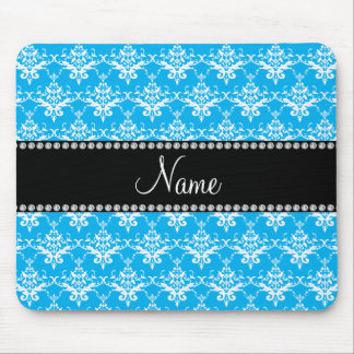 Personalized name sky blue white damask mouse pads