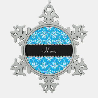 Personalized name sky blue white damask ornaments