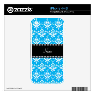 Personalized name sky blue white damask iPhone 4S skin