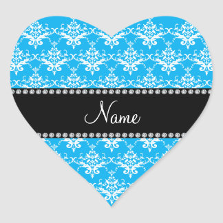 Personalized name sky blue white damask sticker