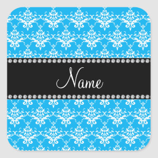Personalized name sky blue white damask square sticker