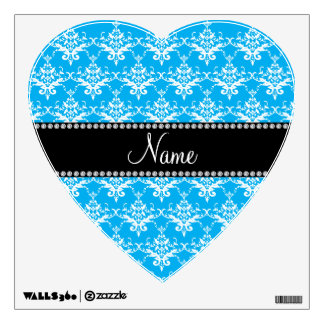 Personalized name sky blue white damask room stickers
