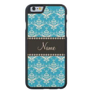 Personalized name sky blue white damask carved® maple iPhone 6 case