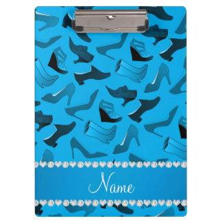 Personalized name sky blue women's shoes pattern clipboard