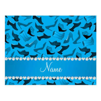 Personalized name sky blue women's shoes pattern postcard