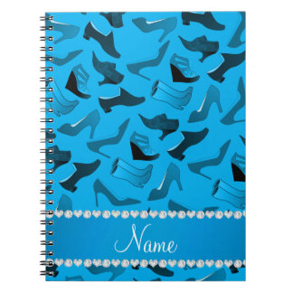 Personalized name sky blue women's shoes pattern spiral notebook