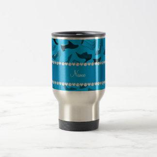 Personalized name sky blue women's shoes pattern travel mug