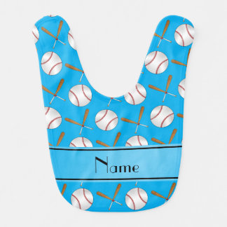 Personalized name sky blue wooden bats baseballs bib