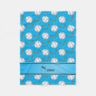 Personalized name sky blue wooden bats baseballs fleece blanket