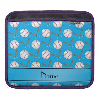 Personalized name sky blue wooden bats baseballs sleeve for iPads