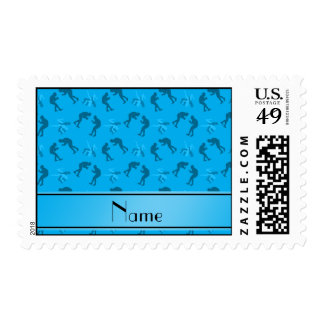 Personalized name sky blue wrestlers postage