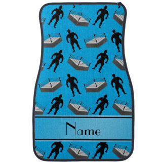 Personalized name sky blue wrestlers ring car mat