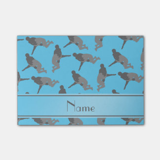 Personalized name sky blue wrestling post-it notes