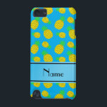 "Personalized name sky blue yellow pineapples iPod touch 5G case<br><div class=""desc"">Modern, girly and trendy Custom name sky blue yellow pineapples with green stem leaves pattern background and with sky blue stripe personalized with just add your name gifts or monogram gifts or your initials for a unique gift. Fruit Pineapple gift ideas for women and girls. If you hit the customize...</div>"