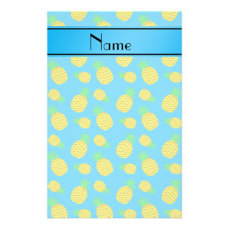 Personalized name sky blue yellow pineapples stationery design