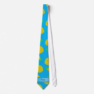 Personalized name sky blue yellow pineapples tie