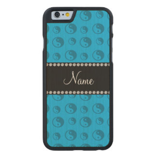 Personalized name sky blue ying yang pattern carved® maple iPhone 6 slim case