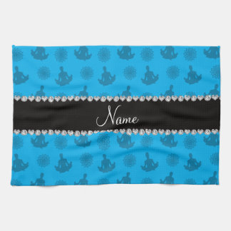 Personalized name sky blue yoga pattern towel