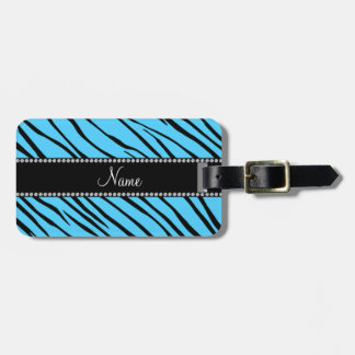 Personalized name sky blue zebra stripes tag for bags