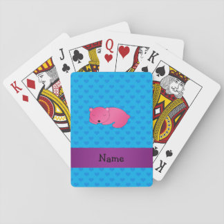 Personalized name sleeping pink bear poker deck