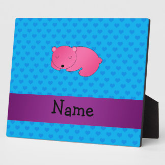 Personalized name sleeping pink bear photo plaques