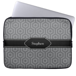 Personalized Name Sleeve for Laptop Grey Pattern Computer Sleeve
