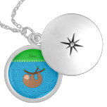 Personalized name sloth blue circles round locket necklace