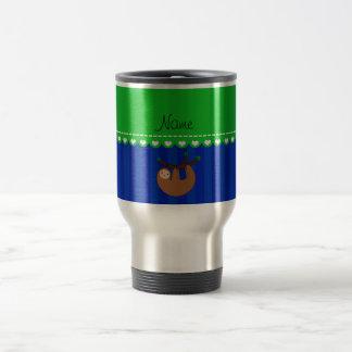 Personalized name sloth blue stripes 15 oz stainless steel travel mug