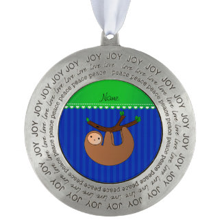 Personalized name sloth blue stripes round ornament