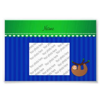 Personalized name sloth blue stripes art photo