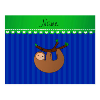 Personalized name sloth blue stripes postcard