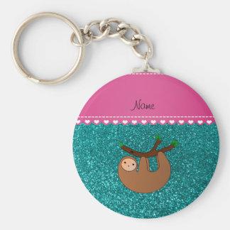 Personalized name sloth bright aqua glitter keychain