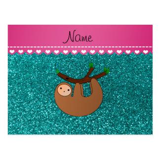 Personalized name sloth bright aqua glitter postcard