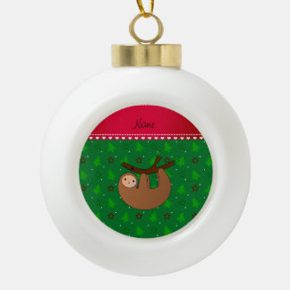 Personalized name sloth green christmas trees ornament