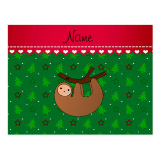 Personalized name sloth green christmas trees postcard
