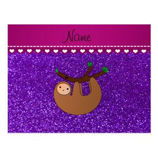 Personalized name sloth indigo purple glitter postcard