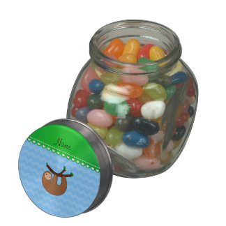 Personalized name sloth pastel blue chevrons glass candy jars