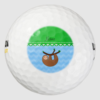Personalized name sloth pastel blue chevrons pack of golf balls