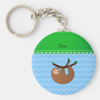 Personalized name sloth pastel blue chevrons keychain