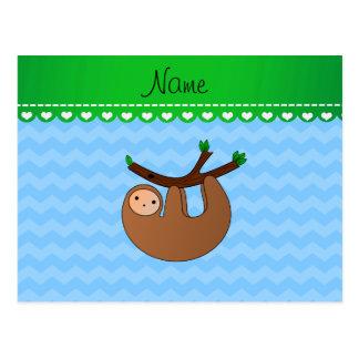 Personalized name sloth pastel blue chevrons postcard