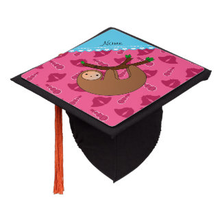 Personalized name sloth pink bells snowmen graduation cap topper