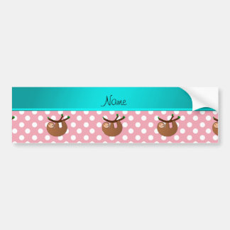 Personalized name sloth pink polka dots bumper stickers